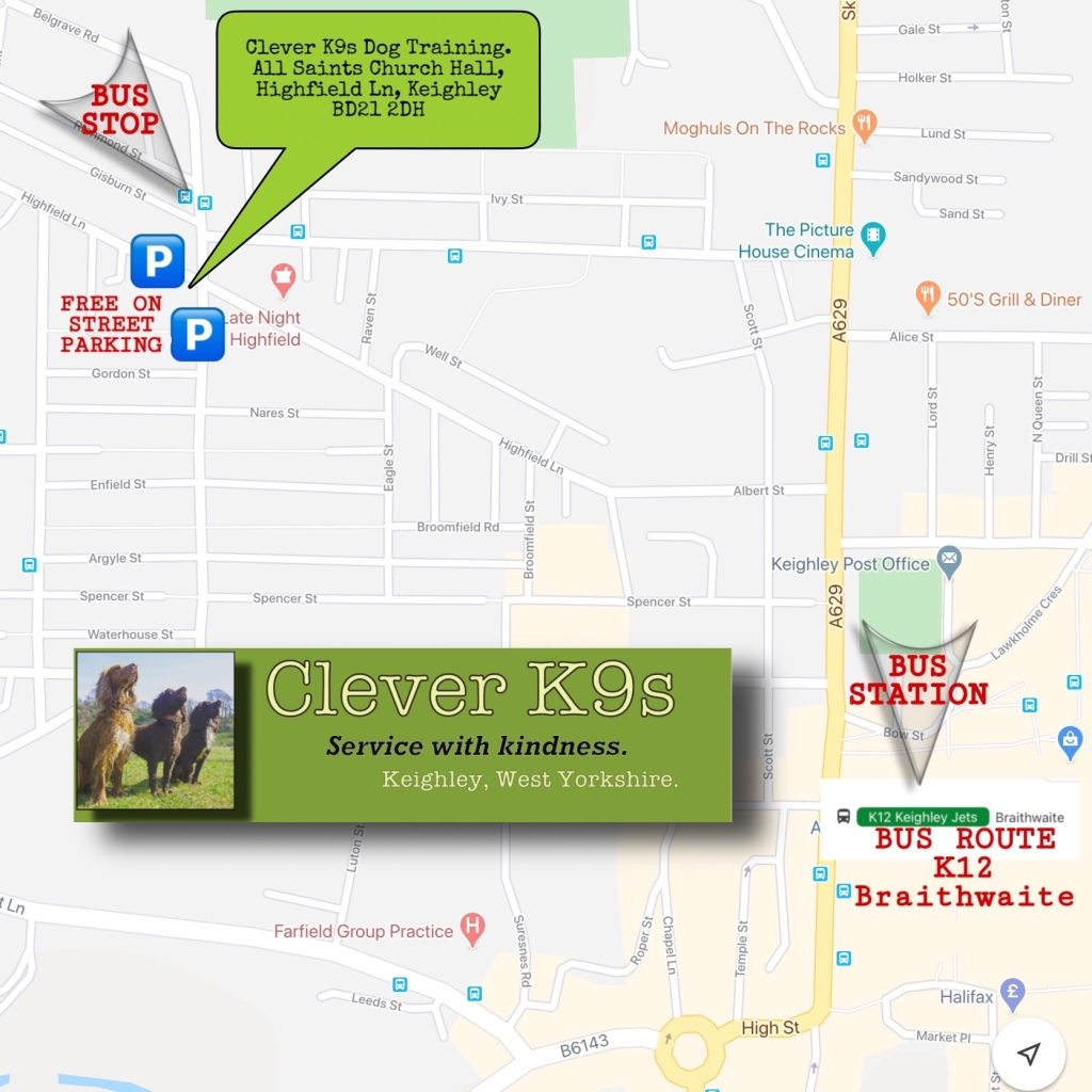 Clever K9s' Indoor Training Venue: All Saints Church Hall, Highfield Lane, Keighley, BD21 2DH.