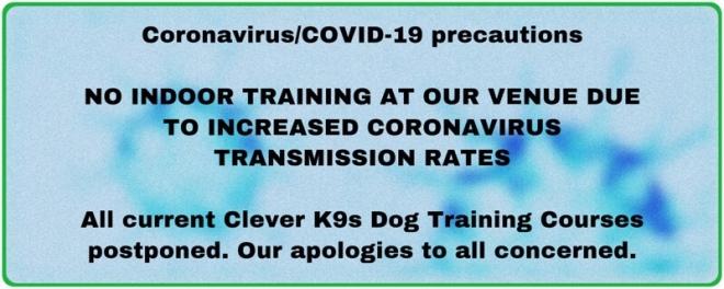 Clever K9s Coronavirus Precautions Dog Training Covid warning banner