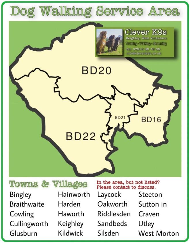 Clever K9s Dog Walker, Dog Walking, Bingley, Braithwaite, Cowling, Cullingworth, Glusburn, Hainworth, Harden, Haworth, Keighley, Kildwick, Laycock, Oakworth, Riddlesden, Sandbeds, Silsden, Steeton, Sutton in Craven, Utley, West Morton. map Hi Res